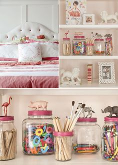 girl's room accessory ideas pillow statement, headboard and fun storage using kids toys on the lids