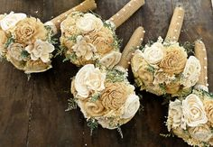 Custom Handmade Bridesmaid Bouquet Set- Ivory and Champagne ...