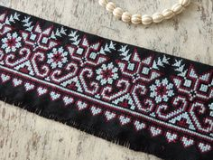 VINTAGE Hmong Hill Tribe hand made cross stitch work for clothing, bags, accessories - length of hand sewn Thai cross stitch, VINTAGE Cross Stitch Borders, Cross Stitch Designs, Cross Stitching, Cross Stitch Embroidery, Hand Embroidery, Cross Stitch Patterns, Palestinian Embroidery, Couture Embroidery, Beaded Crafts