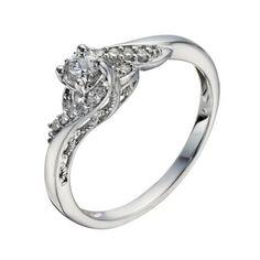 9ct White Gold 1/4 Carat Diamond Twist Solitaire Ring- H. Samuel the Jeweller