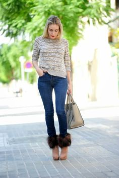 Preparing For #Winter!  #Jeans #Boots #Sweater #Striped #Fur Real Faux #Tote