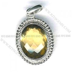 Chunky Gemstone Pendant Silver 925 Citrine Gemstones Pendant Viet Nam Personalized Jewelry