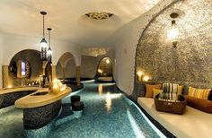 Morrocan-styled indoor pool with a bar! - Decoist