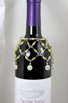 Wine Bottle Cover Beaded | Bottle Cover - Wine Bottle Neck Necklace - Bottle Bling - Beaded Wine ...