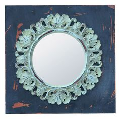 Channeling baroque design influences, this scrollwork mirror features a distressed green finish. Bleu Pastel, Baroque Design, Joss And Main, Interior Inspiration, Spring, Floral, Wall Mirror, Home Decor, Green
