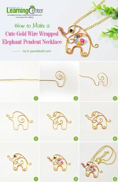 How to Make a Cute Gold Wire Wrapped Elephant Pendent Necklace ~ Wire Jewelry Tutorials