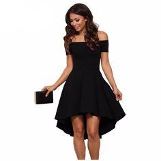 Off the shoulder dresses are all the rage this season! Show off your amazing fashion sense with this dress that features an elastic off the shoulder neckline, a short sleeve, a slim fitting bodice and