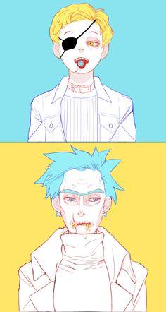 릭앤모티_이블모티+릭+막대사탕_낙서 Rick and Morty_Rick&Evilmorty eats chupachups_Scribble