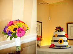 colorful bouquet and cake  purple, pink, yellow, orange wedding details    www.amandamcmahon.com