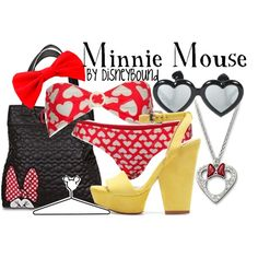 Minnie Mouse by DisneyBound Disney Princess Fashion, Disney Inspired Fashion, Disney Style, Disney Fashion, Disney Themed Outfits, Disney Bound Outfits, Minnie Mouse Swimsuit, Mickey Minnie Mouse, Disney Bathing Suit
