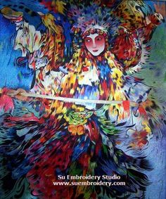 Chinese Peking Opera Dancer, hand embroidered silk thread painting, all hanmade by embroidery artist in Suzhou China, Su Embroidery Studio