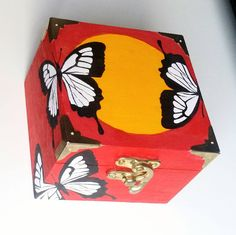 Black and white, handpainted, red and yellow, butterfly box, gift for her, wooden trinket box, bright homeware, colourful, home decor, home by GeorgiaLHarrisArt on Etsy