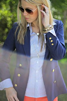 Classic navy blazer paired with the coral for Spring
