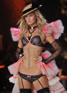 VS Fashion Show 2011 - Neo-Victorian inspired. The Hat, The waist trainer, The broaches and that Skirt!