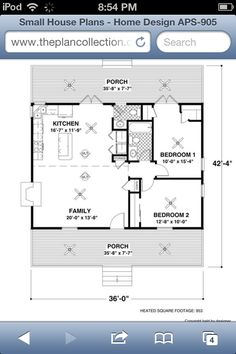 Small house with awesome open floor plan, 2 bedrooms, 1 1/2 bathrooms and laundry, plus big front porch :)