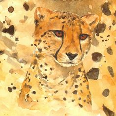 Camouflage cheetah, african animals, wild animal art, cheetah print, safari art, black and gold Art Print