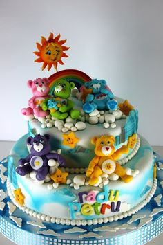 Cool Detailed Care Bears cake!!