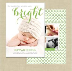 Holiday Birth Announcement photoshop card template - Spirits Bright on Etsy, $8.00