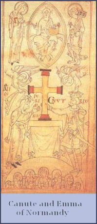 Canute the Great and Emma of Normandy donating a cross to a monastery