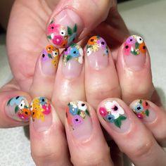 56 Elegant Spring Floral Nail Art Designs - New Ideas Nail Design Spring, Spring Nail Colors, Spring Nails, Summer Nails, Nail Art Designs, Orange Nail Designs, Flower Nail Designs, Diy Nails, Cute Nails
