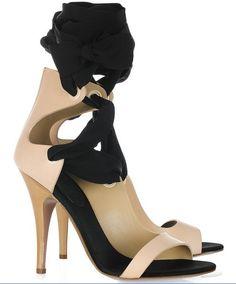 vionnet bridal, vionnet sandals for sale $245, Vionnet Leather And Silk Ribbon Sandals