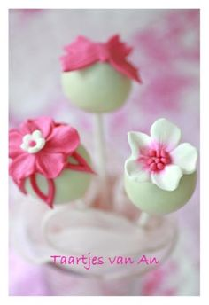 White and pink pops-royal icing flowers.