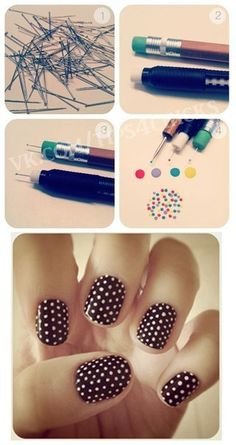 Using a pin attached to pencil's eraser to create polka dots. #diy cute nails