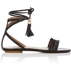 Aquazzura Women's Sun Valley Flat Sandals ($299) ❤ liked on Polyvore featuring shoes, sandals, flat sandals, flats, sapatos, brown, brown flat shoes, woven sandals, open toe sandals and braided sandals