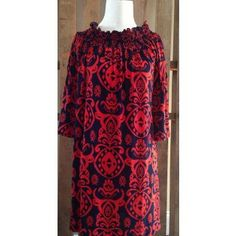 Navy and Orange Damask Print Dress