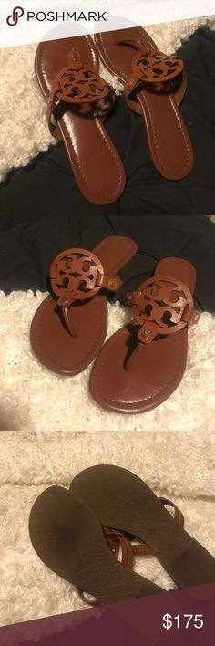 Brown Tory burch millers Super cute brown millers 🎉 these are in good condition, most visible wear is are to the bottoms and toe area with minor creasing in the middle (see photos for more reference ) over all a great shoe and need to be worn by a beautiful girl 💕💕💕💕💋 Tory Burch Shoes Sandals