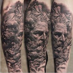 #Black-And-Grey, #POSEIDON, #Real #tattoo - half sleeve first sitting with sitting with seunghyun