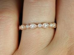 Madeline 14kt Rose Gold Pear and Bubble Diamond Almost Eternity Ring  680 USD
