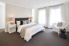 BEDROOMS of Malibu 29 single storey home. On display at Housing World Wongawilli. Part of the Evolve range and brought to you by Masterton Homes Home Bedroom, Master Bedroom, Bedrooms, Malibu Homes, Comfy Sofa, Storey Homes, New Home Builders, Love Home, Open Plan Living