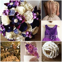 Purple and gold wedding theme. Ultimate luxurious deep aubergine plum amathyst lilac paper bouquet roses kusudama blossom pearls diamantés. Huge giant paper rose bouquet wand flower girl bridesmaid. Cute purple dress glitter bodice. Outdoor evening wedding lanterns fairy lights. Gold backless sheer tulle wedding bridal dress. Wedding cake lace doilie sugar paste flowers. Unique bespoke one of a kind made to order best top pick ultimate paper bouquet in UK 2015 2016 new hot design make…