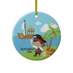 Cute Boy Pirate Christmas Ornament