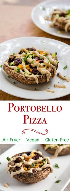 Portobello Mushroom Pizzas with Hummus is part of Light Vegan appetizers - Portobello mushroom pizzas are a light, easy alternative to personal pizzas Enjoy them as delicious vegan appetizers or snacks Appetizer Dishes, Vegan Appetizers, Appetizer Recipes, Mexican Appetizers, Halloween Appetizers, Delicious Appetizers, Appetizer Ideas, Health Appetizers, Sukkot Recipes