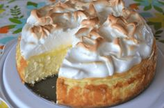"""Love lemon meringue pie and cheesecake? Well this is the best of both worlds. Great any time of year and sure to impress your guests."" This Lemon Meringue Cheesecake is made with a buttery graham cracker crust, creamy Brownie Desserts, Oreo Dessert, Food Cakes, Cupcake Cakes, Lemon Desserts, Just Desserts, Lemon Recipes, Lemon Mirangue Pie Recipe, Meringue Desserts"