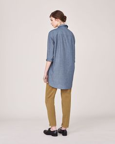 Women's Chambray Cotton Men's Style Shirt | Toast