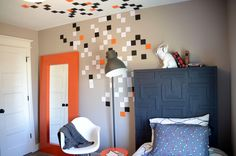 decorating with shapes - could do different shapes up from different sides, maybe meet in middle for things from several shapes