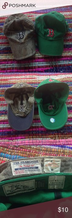 Boston baseball hats!Bundle! Boston baseball hats! Both size medium! Worn and used! No holes,stains,little fading!. In good condition! These are men's hats! But I think they fit a woman's head better!. Accessories Hats