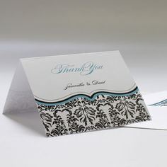 Love Bird Damask Thank You Card
