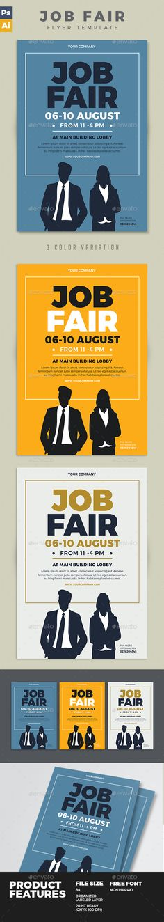 Job Fair Flyer  PSD Template • Download ➝ https://graphicriver.net/item/job-fair-flyer/17125885?ref=pxcr
