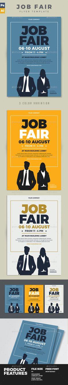 Job Fair Flyer  PSD Template • Download ➝ https://graphicriver.net/item/job-fair-flyer/17125885?ref=pxcr