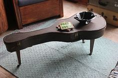 guitar case coffee table | Vintage Guitar Case Coffee Table wth 60's Legs, Record Bowl, Music ...