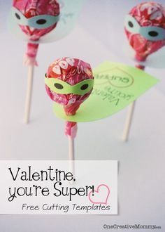 Tootsie Pop {Valentine--You're Super!} with Free Cutting Templates #silhouette #valentine #printable