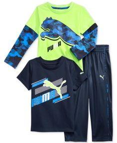 Puma 3-Pc. T-Shirt, Shirt & Pants Set, Toddler Boys (2T-5T) & Little Boys (2-7) - Blue 5