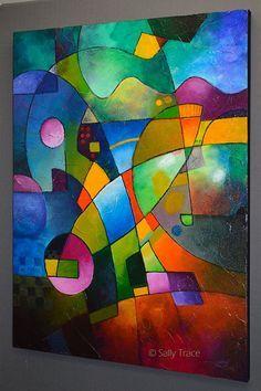 Peinture abstraite peinture originale par SallyTraceFineArt sur Etsy