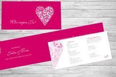 """Pinke Hochzeitseinladung """"Schmetterlinge im Bauch"""" mit Herz, Einleger mit weiteren Informationen zum Fest, ©passion4paper, www.die-edle-karte.de"""