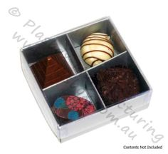 Chocolate Box Four Cavity with Silver Base and Clear Lid