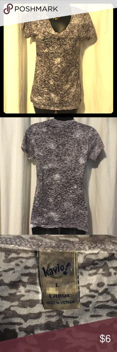NwoT Camo print Distressed Vneck! Grey and white distressed camo print Vneck! It's also a lil on the sheer side. It's says large but fits a medium too!  Check out my closet for other items you might like because I❤️bundles!! And also offers!!! kavio! Tops Tees - Short Sleeve